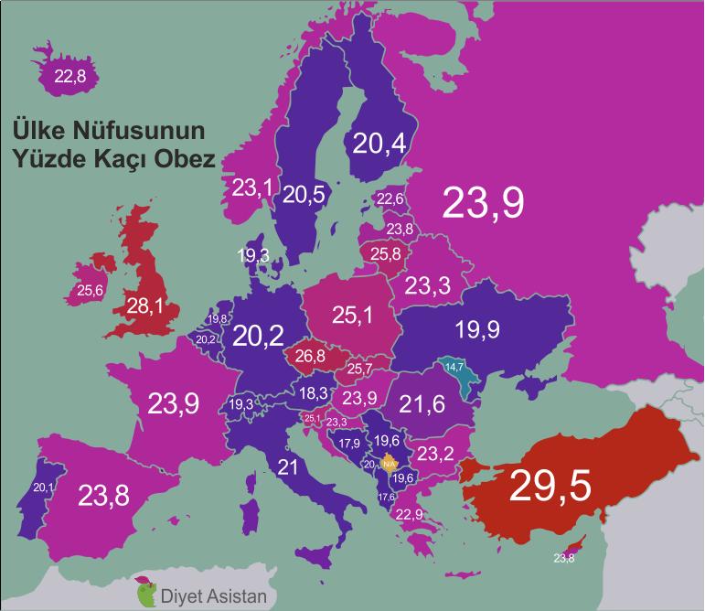 Obezitede Avrupa Birincisi Türkiye